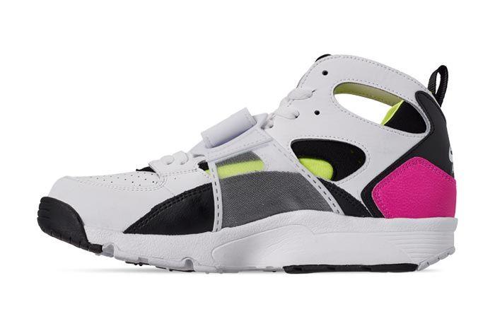 Nike Air Trainer Huarache Black White Laser Fuchsia Volt Medial