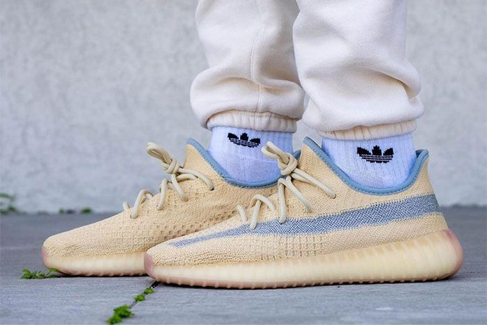 Adidas Yeezy Boost 350 V2 Linen Fy5158 On Feet Left