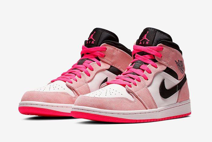 Air Jordan 1 Mid Crimson Tint Hyper Pink 852542 801 Release Date 4 Pair Side Shot