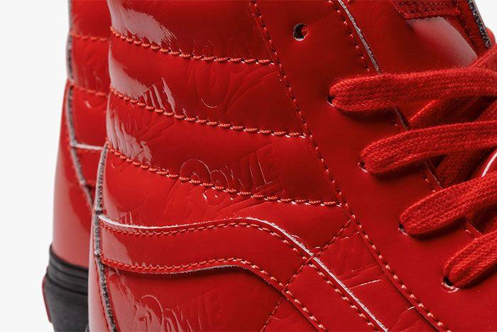 Vans David Bowie Collection Red Shoes Sk8 Hi Detail