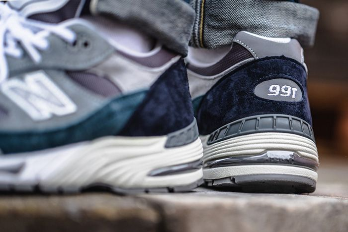 New Balance 991 Grey Blue Made In Uk On Foot Heel