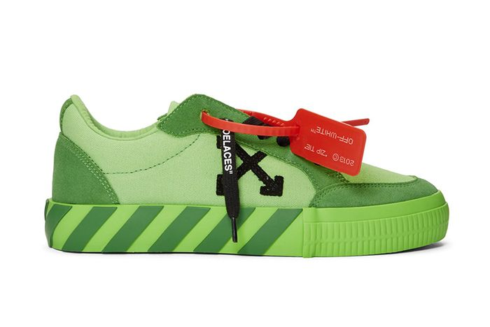 Off White Low Vulcanised Sneaker Green