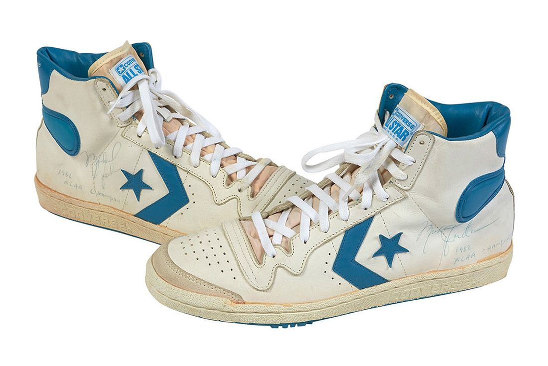 1981 82 Michael Jordan Signed Inscribed Pair Of North Carolina Tar Heel Game Worn Shoes From Freshman Ncaa Championship Season 7
