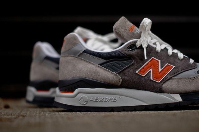 New Balance 998 Grey Orange Heel Detail 1