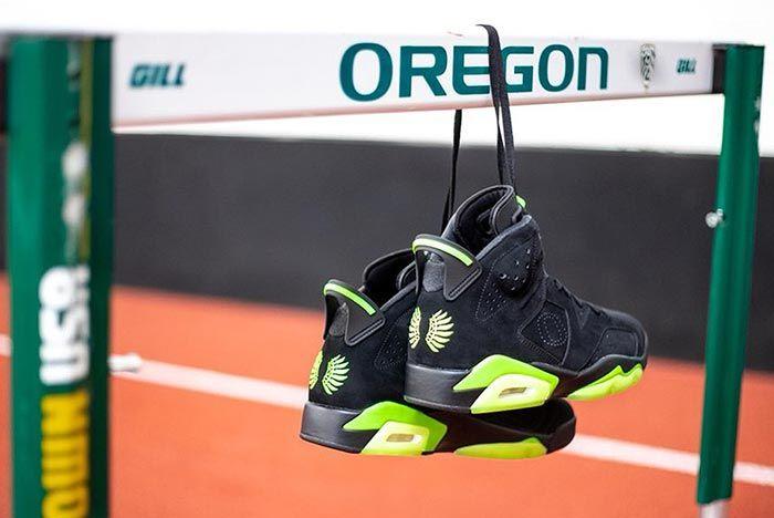 Air Jordan 6 Black Green University Of Oregon Pe Hurdles