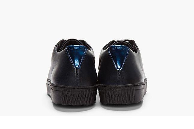 Raf Simons Blk Lthr Rflctive Silver Low Tops Heel Profile 1