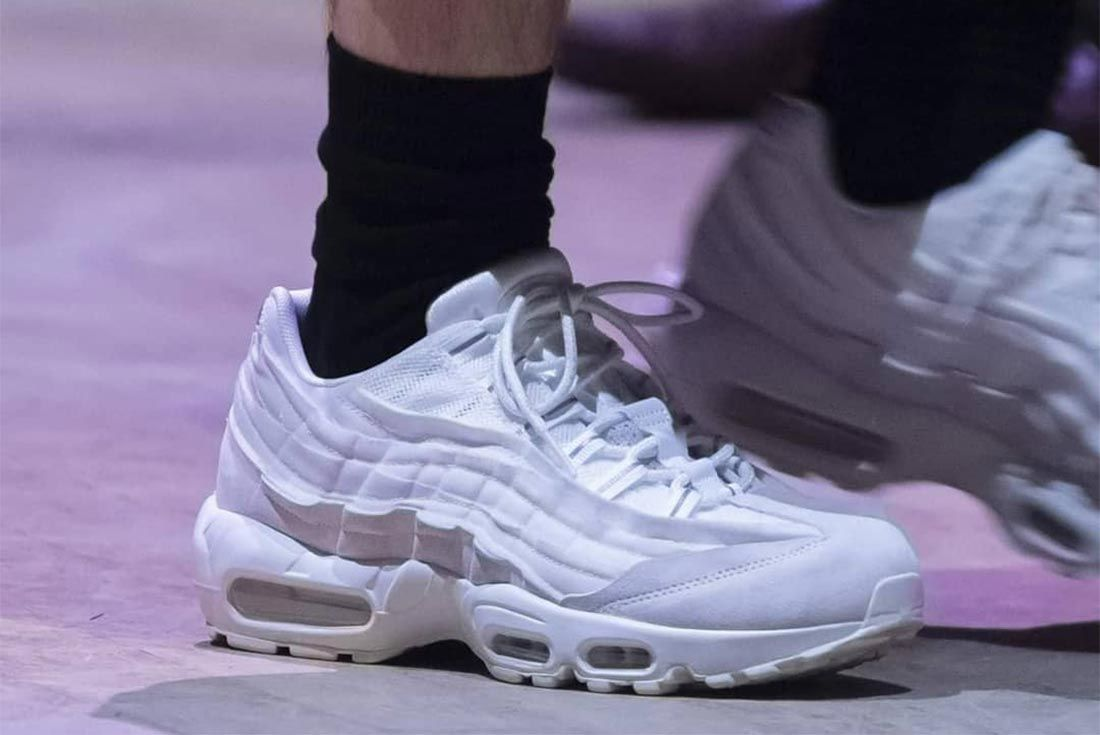 Comme Des Garcons Nike Air Max 95 White Lateral On Foot Side Shot