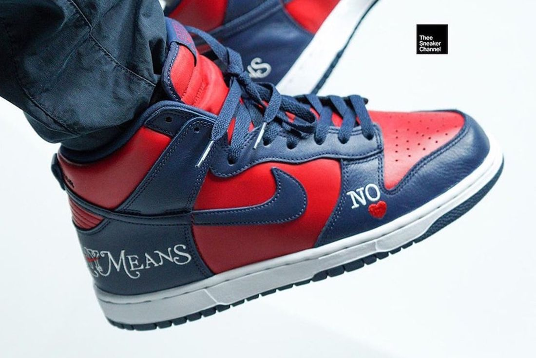 nike sb dunk high supreme by any means on foot