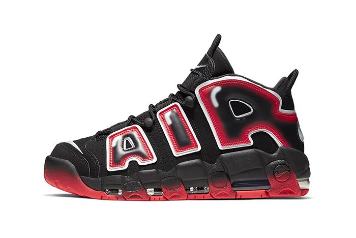 Nike Air More Uptempo Black Red Lateral