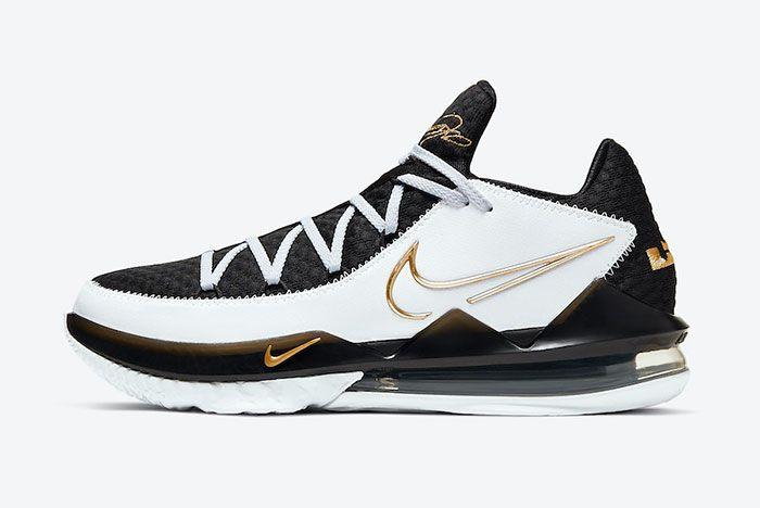 Nike Le Bron 17 Low White Black Metallic Gold Cd5007 101 Lateral