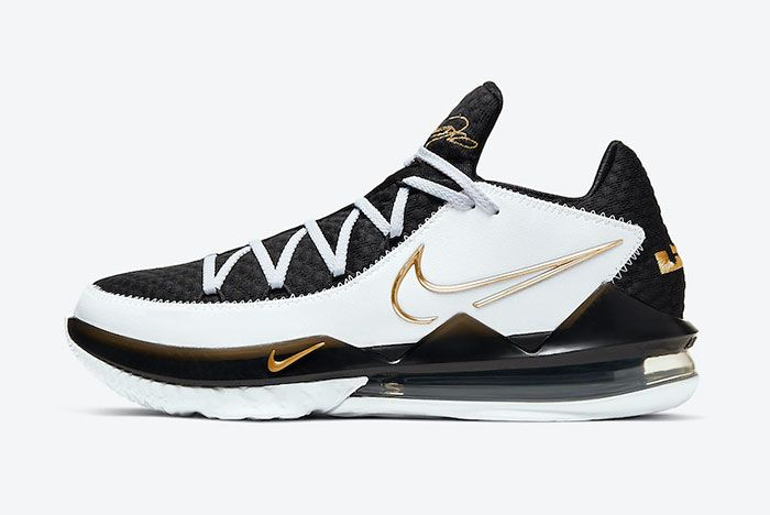 Nike Le Bron 17 Low White Black Metallic Gold Cd5007 101 Lateral