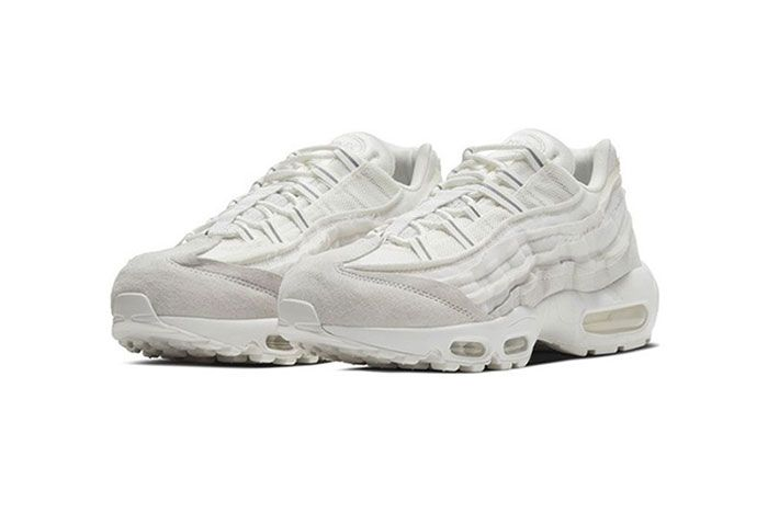 Comme Des Garcons Nike Air Max 95 White Three Quarter Angled Side Shot