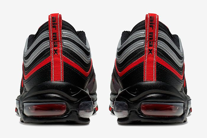 Nike Air Max 97 Black Red Silver Heel