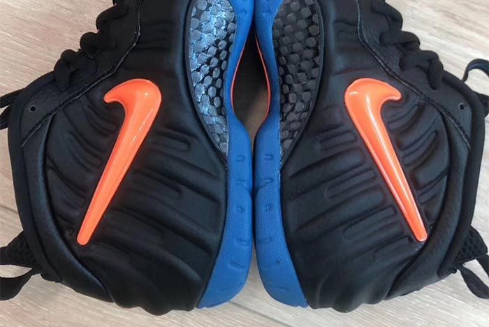 Nike Air Foamposite Pro Knicks Black Battle Blue Total Orange 624041 010 Close Up Swoosh Shots
