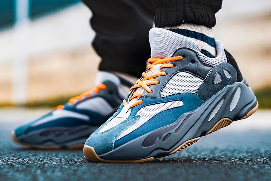 Adidas Yeezy Boost 700 Teal Blue On Foot Left