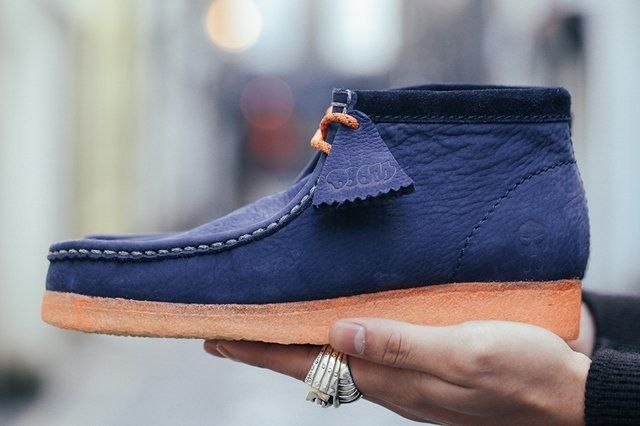 Doom Clarks Wallabee Boot Navy Bumper 5