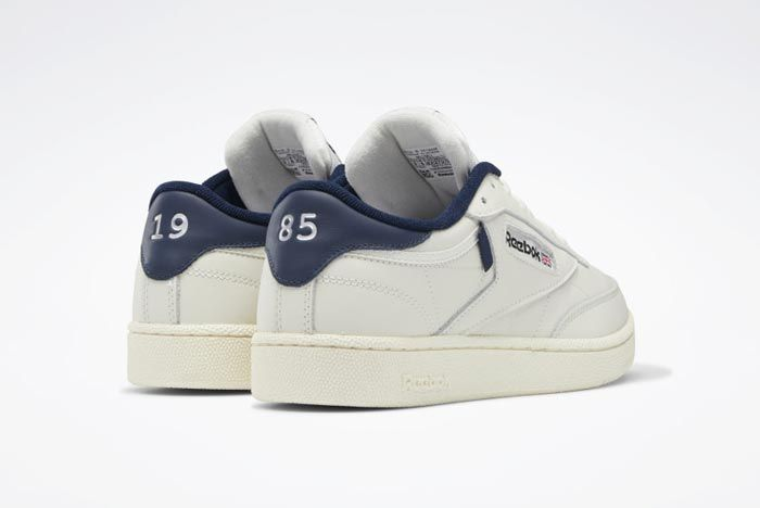 Reebok Club C 85 Chalk Classic White Collegiate Navy Heels