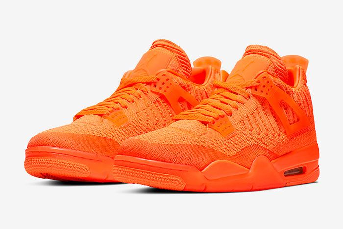 Air Jordan 4 Flyknit Total Orange Aq3559 800 Three Quarter Lateral Side Shot