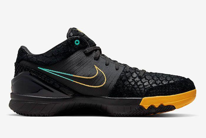 Nike Zoom Kobe 4 Protro Black Snake Aurora Green University Gold Av6339 002 Medial