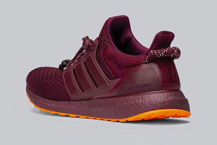 Beyonce Ivy Park Adidas Ultraboost Burgundy Three Quarter Heel Shot