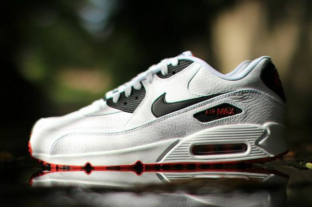 Nike Air Max 90 Leather Black White Red 3