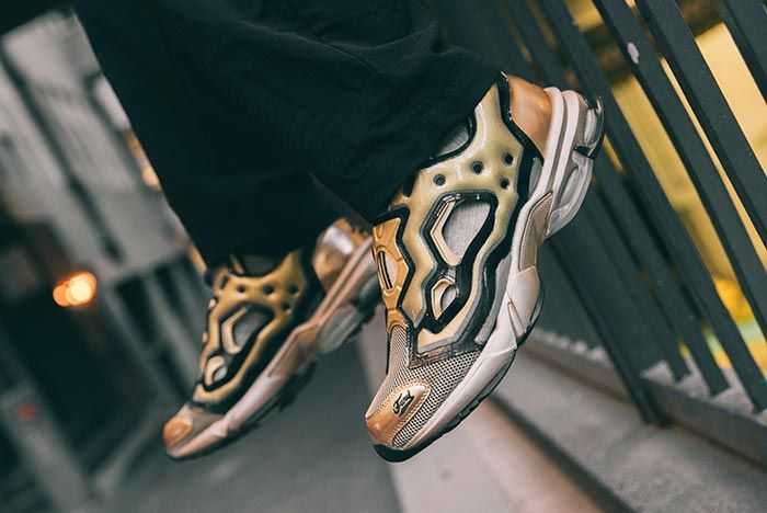 Reebok Dmx Pump Fur Millennium On Feet Left Side