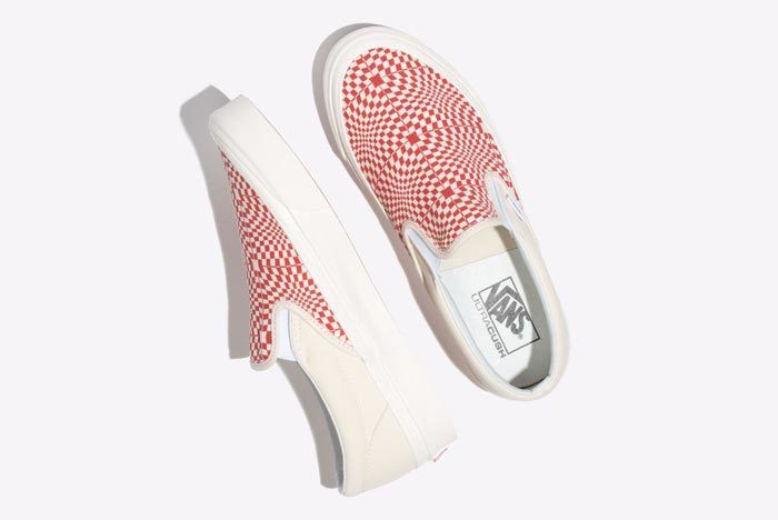 Vans Warp Check Slip On Red 2