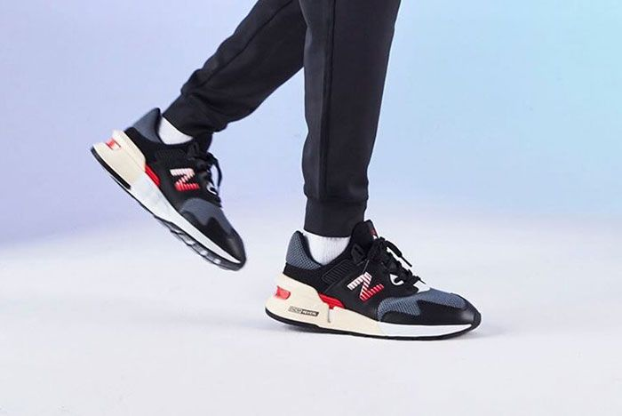 New Balance 997S Black With Red On Foot3