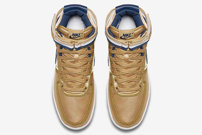 Nike Vandal High Supreme Metallic Gold Navy 3