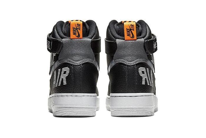 Nike Air Force 1 High Black Grey Orange Cq0449 001 Release Date Heel