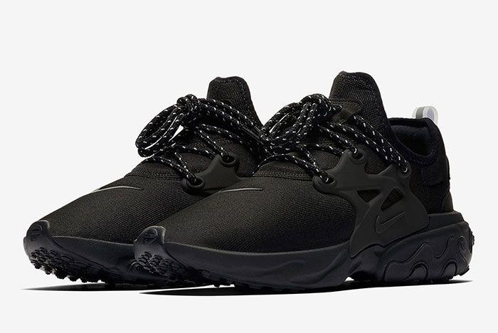Nike React Presto Triple Black Av2605 004 Front Angle