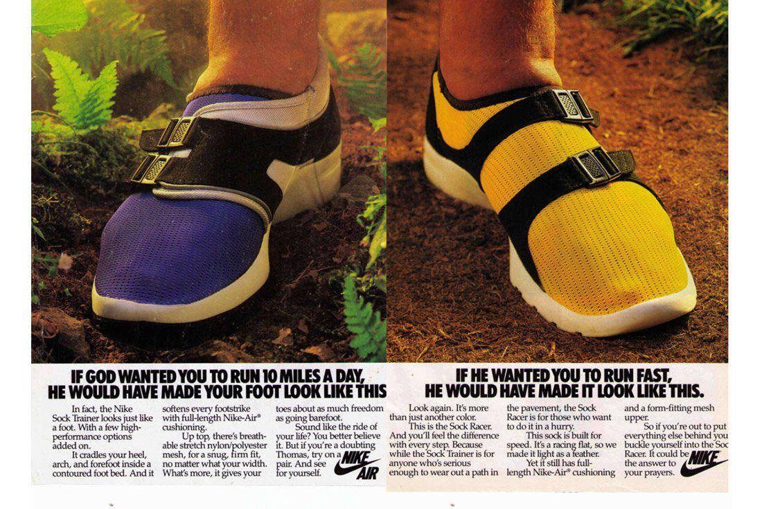 Material Matter Closures Original Nike Sock Race Advertisement