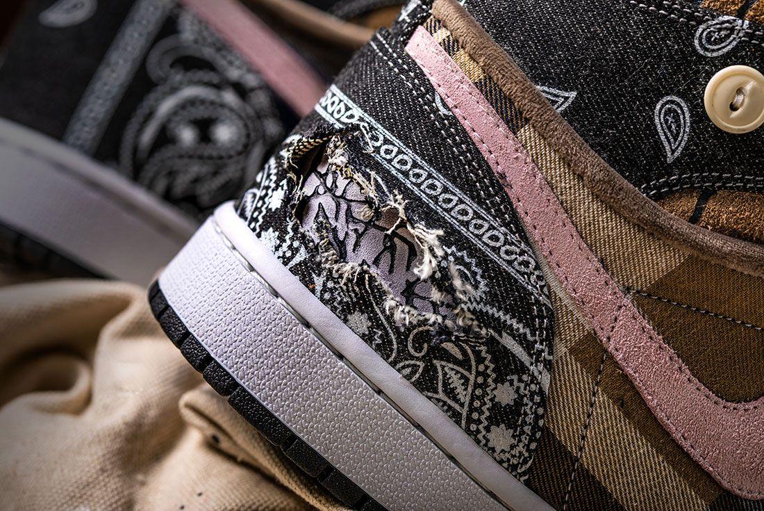 Bespokeind Travis Scott Air Jordan 1 Custom Bandana Sneaker Freaker Hero Shot3