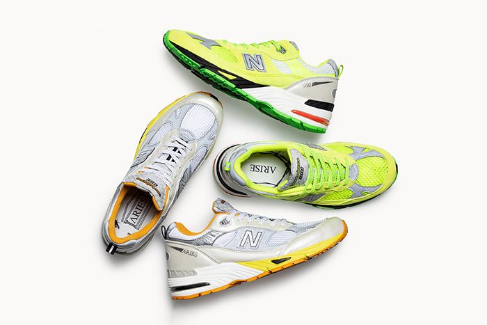 Aries New Balance 991 Neon Yellow Silver Orange Release Date Group