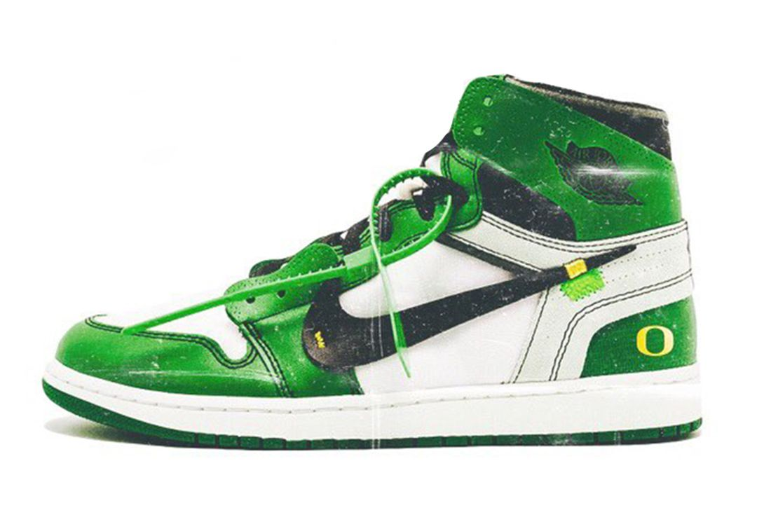 oregon ducks x off white x air jordan 1 mock image
