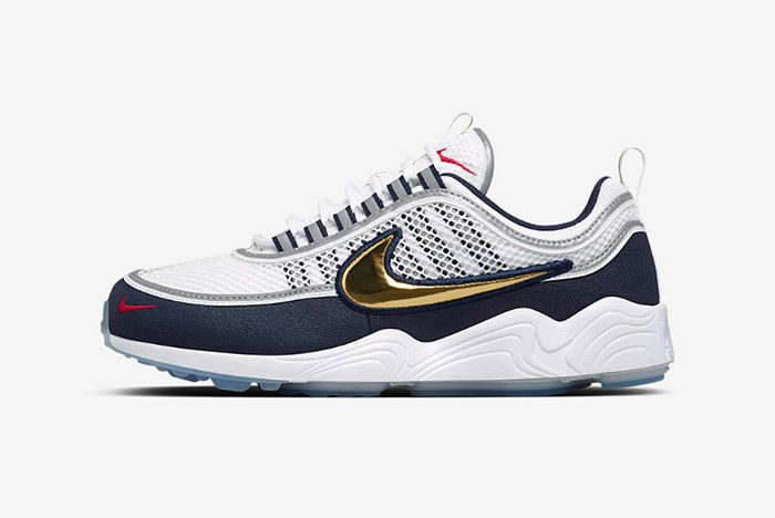 Nike Air Zoom Spiridon White Gold Navy Blue 6
