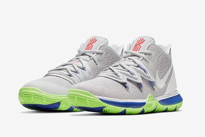 Nike Kyrie 5 Wolf Grey Lime Blast Pair