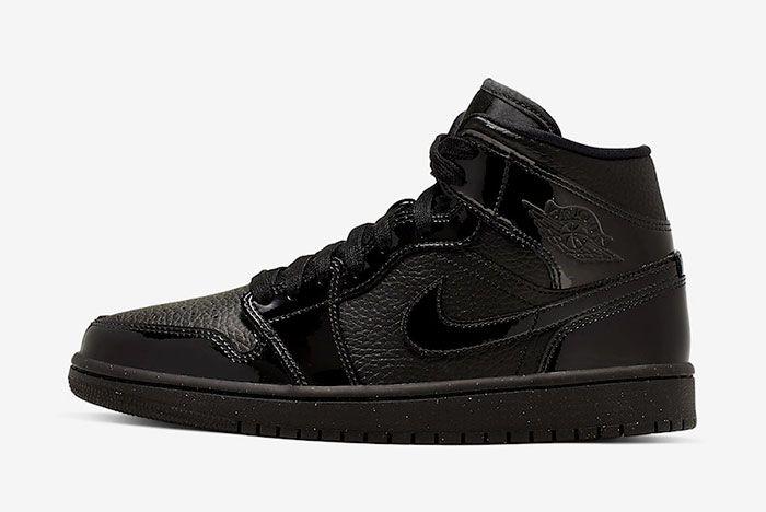 Air Jordan 1 Mid Triple Black Patent Bq6472 003 Lateral