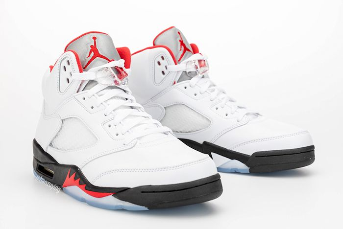 Air Jordan 5 Fire Red Left Side Pair