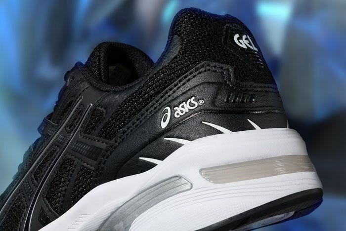 Asics Gel 1090 Black White Close Up Heel Shot