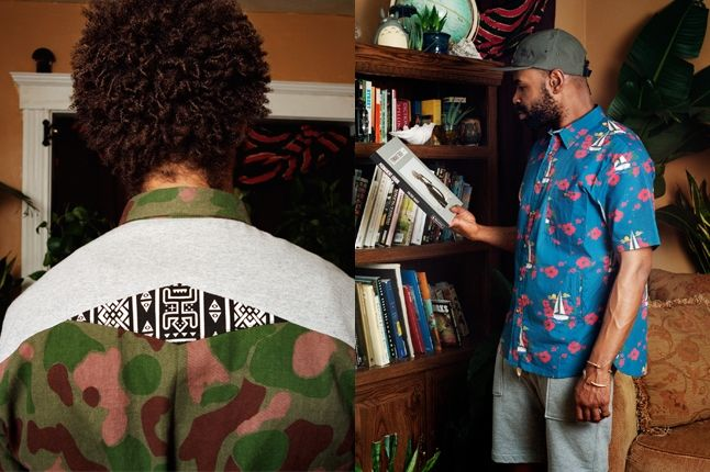 Bodega Ss13 Lookbook Split Camo Shirt Blue Shirt 1