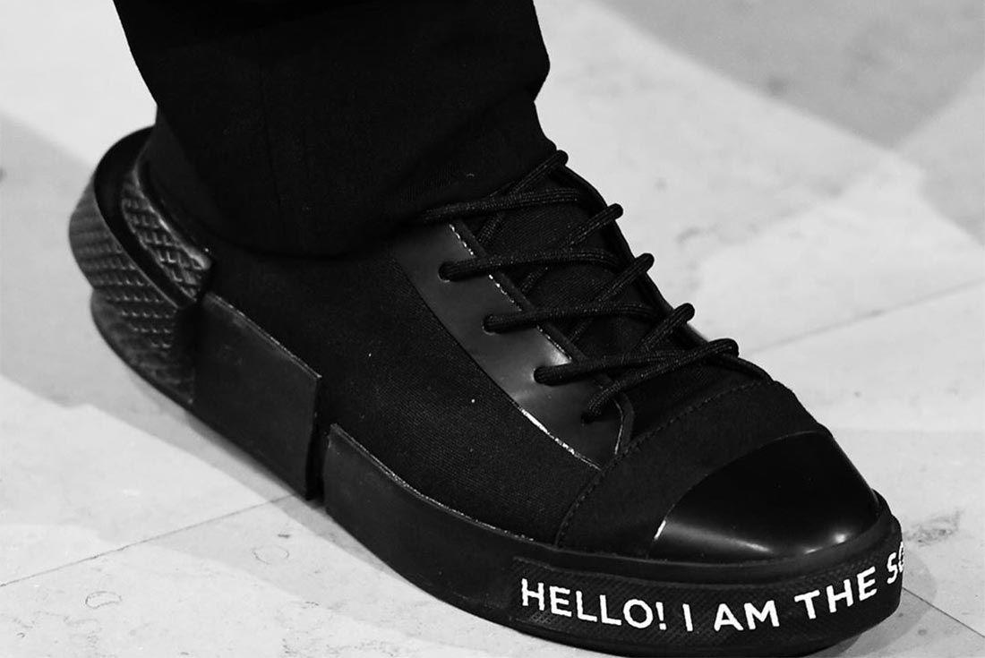 Takahiro Miyashita Converse Black Front Angle On Foot Shot
