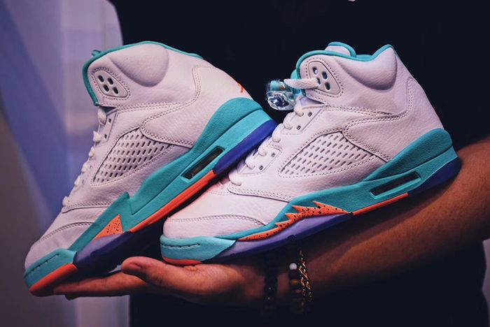 Air Jordan 5 Miami Light Aqua Release Date Side Sneaker Freaker