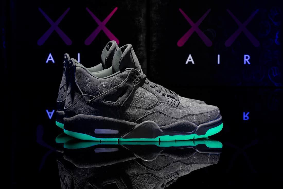 Kaws X Air Jordan 4 Glow In Action9