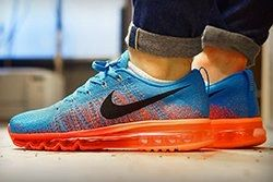 Nike Flyknit Air Max Vivid Blue Atomic Orange Thumb