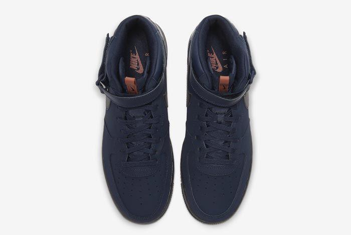 Nike Air Force 1 Mid Obsidian Black Dusty Peach Top