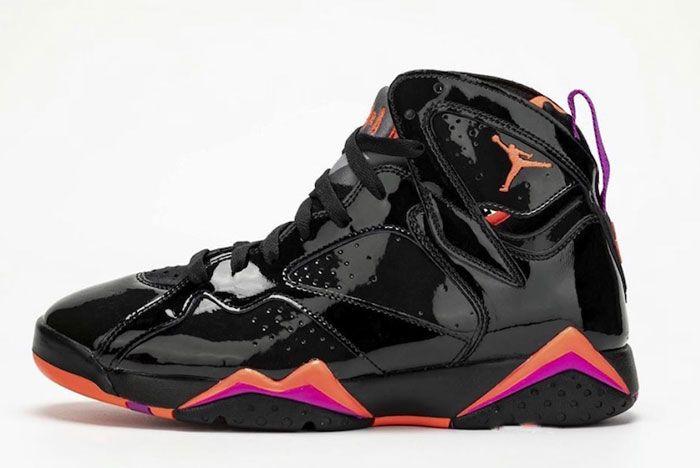 Air Jordan 7 Womens Black Orange Pink Left