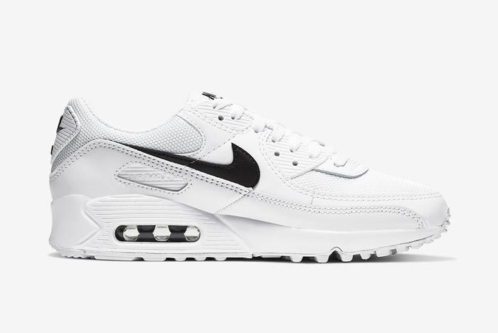 Nike Air Max 90 White Black Womens Medial