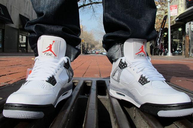 Air Jordan Iv White Cement On Feet 02 1