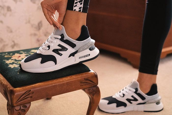 New Balance 997S Summer 2019 Black White On Foot Lateral Side Shot